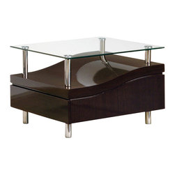 Global Furniture - Global Furniture USA 759WE Wave Clear Glass End Table in Wedge - This modern table is finished in a rich wedge color with a glass top. With the clean lines and eye catching design, there is no doubt you will marvel at the way these pieces blend in with the rest of your living space.