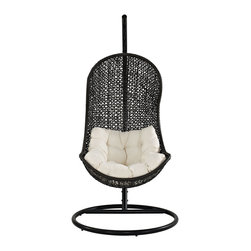 LexMod - The Parlay Rattan Outdoor Wicker Patio Swing Chair Set - Outdoor hanging egg chair