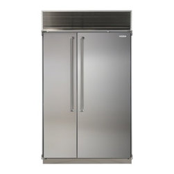 """Marvel - MPRO48CSSSGX 48"""" Professional Side-by-Side Dual Cabinet Refrigerator with Bold P - Each of MARVEL39s side-by-side refrigeratorfreezers displays our commitment to superior construction choice and capacity Interiors are solidly built in your choice of arctic white aluminum or gleaming stainless steel All products are frost-free and h..."""