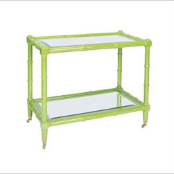 Worlds Away - Worlds Away Palm Bar Cart Green - Rectangular wooden frame with bamboo detailing in a lacquered green shade. Two beveled mirror shelves and brass casters for easy mobility.