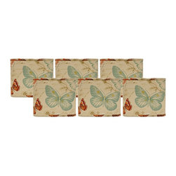 """Lamps Plus - Themed Set of 6 Colored Butterflies Lamp Shade 5x5x5 (Clip-On) - These miniature square lamp shades come in a set of six and feature a colorful butterfly exterior. The clip-on fitter allows you to easily add these shades into your home decor and the chrome hardware provides just a touch of sparkle. A perfect accent to give new life to a set of small table lamps. Set of 6. Square lamp shade. Cotton exterior. Colored butterflies print. Clip-on fitter. Recommended for use with 25 watt candelabra bulbs. Unlined. 5"""" across the top. 5"""" across the bottom. 5"""" high.  Set of 6.  Square lamp shade.  Cotton exterior.  Colored butterflies print.  Clip-on fitter.  Recommended for use with 25 watt candelabra bulbs.  Unlined.  5"""" across the top.  5"""" across the bottom.  5"""" high."""