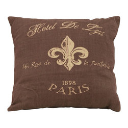 Benzara - Brown Pillow With Lovely Paris Hotel Theme - Being one of the most romantic places in all the world, it's good advice to always keep a little bit of Paris nearby inside your home. This pillow features graphics of the Hotel de Lys in Paris. Create a bit of warm hospitality from one of the most romantic places in the world. Get several types to build the perfect Parisian pillow set.