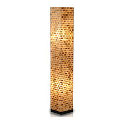 Jeffan International - Valentti Square Capiz Shell Floor Lamp with Black Wood Base - Add architectural interest and accent lighting to any decor with this stunning floor lamp, highlighted by a fiberglass shade studded with capiz shells in a classic bricklay pattern. A perfect way to create a warm, inviting ambiance in any space, the lamp is finished in amber and brown with a black wood base. Bulb not included. Requires two 40/60 watt bulb. Unique lighting for great ambiance. Recognized by HGTV for its innovative design. Made of fiberglass covered with small rectangular shaped capiz shells. Black wooden base. 7 ft. electrical cord with on/off switch. Made from fiberglass and shell. Made in Indonesia. No assembly required. 8 in. L x 8 in. W x 53 in. H (13 lbs.)