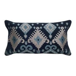 Rizzy Home - Rizzy Home Navy Ikat Decorative Throw Pillow Multicolor - TRS029 - Shop for Pillowcases and Shams from Hayneedle.com! Like you the Rizzy Home Navy Ikat Decorative Throw Pillow is charmed by classic Ikat patterns. Sophisticated and comfy this throw pillow is made of satiny navy blue cotton with an intricate Ikat embroidery design in blue and silver. You'll love what this pillow does for your sofa! It comes complete with a hidden side zipper and removable polyester insert. Dry clean only.About Rizzy HomeRizwan Ansari and his brother Shamsu come from a family of rug artisans in India. Their design color and production skills have been passed from generation to generation. Known for meticulously crafted handmade wool rugs and quality textiles the Ansari family has built a flourishing home-fashion business from state-of-the-art facilities in India. In 2007 they established a rug-and-textiles distribution center in Calhoun Georgia. With more than 100 000 square feet of warehouse space the U.S. facility allows the company to further build on its reputation for excellence artistry and innovation. Their products include a wide selection of handmade and machine-made rugs as well as designer bed linens duvet sets quilts decorative pillows table linens and more. The family business prides itself on outstanding customer service a variety of price points and an array of designs and weaving techniques.