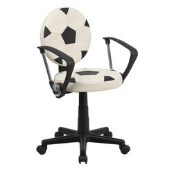 Flash Furniture - Flash Furniture Soccer Task Chair with Arms - BT-6177-SOC-A-GG - Bring your favorite sport to the desk with this Soccer Inspired Office chair that is perfect for all young soccer fans! The round seat and back resembles two soccer balls that are upholstered in vinyl material for easy cleaning. With an affordable price tag it is sure to please the young soccer fan in your home. [BT-6177-SOC-A-GG]