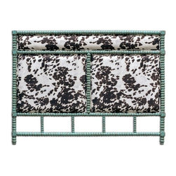 Uttermost - Uttermost - Chahna Queen Headboard In Aqua Blue - 23702 - Rich cushioning under plush, dark chocolate and milky white velvet, with an aqua blue finish on solid, turned hardwood. French cleat wall attachment.