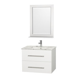 "Wyndham Collection - Wyndham Collection 30"" Centra White Single Vanity w/ Square Porcelain Sink - Simplicity and elegance combine in the perfect lines of the Centra vanity by the Wyndham Collection. If cutting-edge contemporary design is your style then the Centra vanity is for you - modern, chic and built to last a lifetime. Available with green glass, pure white man-made stone, ivory marble or white carrera marble counters, and featuring soft close door hinges and drawer glides, you'll never hear a noisy door again! The Centra comes with porcelain sinks and matching mirrors. Meticulously finished with brushed chrome hardware, the attention to detail on this beautiful vanity is second to none."