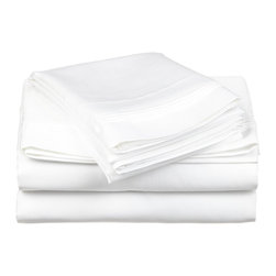 600 Thread Count Cotton Rich Full White Sheet Set - Cotton Rich 600 Thread Count Full White Sheet Set