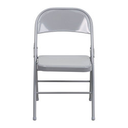 Flash Furniture - Flash Furniture Hercules Series Metal Folding Chair in Gray - Flash Furniture - Folding Chairs - HF3MC309ASGYGG - When in need of temporary seating this heavy duty all steel gray metal chair by Flash Furniture is perfect. This portable folding chair can be used for Parties Graduations Sporting Events School Functions and in the Classroom. This chair will be the perfect addition in the home when in need of extra seating to accommodate guests. The chair will not take up anywhere near as much space as chairs that cannot fold when it comes time to clean up. This economically priced chair will endure some heavy usage with an 18-gauge steel frame triple braced and leg strengthening support bars. [HF3-MC-309AS-GY-GG]