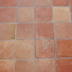 """French Terracotta Red Tiles Square - 6"""" Square reclaimed French Terracotta.  Beautiful earthen red tones with interspersed hues of brown and blond result in a stunning floor covering, which provides immediate Mediterranean French charm. Whether they are installed as tiles alone or in combination with reclaimed oak frames, the finished floor will complement your French country or Tuscan kitchen, wine pantry, or other small- to medium sized rooms in your home."""