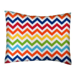 SheetWorld - SheetWorld Twin Pillow Case - Flannel Pillow Case - Primary Chevron-Made in USA - Twin pillow shams. Made of an all cotton flannel fabric. Fits a standard twin size pillow. Side Opening. Features primary chevron print.