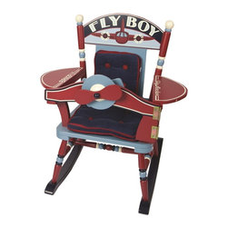"""Levels of Discovery - Fly Boy Airplane Rocker - Retro red, white and shades of blue Vintage airplane seat back design Special Message: Fly Boy Easy to open and close cockpit panel Working steering wheel turns the propeller Moving Laugh-O-Meter & Flying High gauges  Armrest wings labeled with Sky Rocker and BRN2FLY Comfy padded seat and back cushions Special understamp beneath the seat that the customer can personalize with the child's name, the name of the gift-giver and the special occasion when the chair was received A photo greeting card is included so the child can say THANK YOU in a memorable wayCockpit panel that opens. Steering wheel. Moving gauges. Photo greeting card included. All chairs have a """"personalizable"""" understamp"""
