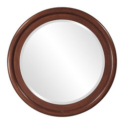 Howard Elliott - Timber Wooden Round Mirror - This simple round Timber mirror is finished in a natural walnut colored veneer.