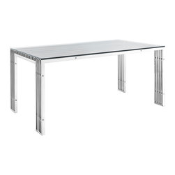 Gridiron Stainless Steel Dining Table - The conduit design of this Gridiron series installment artfully blends stainless steel tubing with a tempered glass table top. Modernism used to be about extremes. Wild shapes and patterns that don't dare resemble its predecessors. We've reached an age of maturity of sorts. We appreciate style, but all the more, we respect those designs that represent a blending of cultures. The Gridiron stainless steel dining table is famous not for its radical shape, but for the strategic transcendence that it provides.