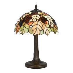 Cal Lighting - Cal Lighting BO-2376AC Tiffany 1 Light Pedestal Base Table Lamp - Features: