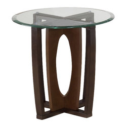 Jofran - Jofran Ellipse Cherry 24 Inch Round End Table w/ Tempered Glass Top - Attractive looks and a versatile build make this table an imperative inclusion. With an adaptable design and pleasing aesthetics, this table is an all-inclusive solution to providing both style and utility. Show off your sensible personality with the addition of this table. What's included: End Table Top (1), End Table Base (1).