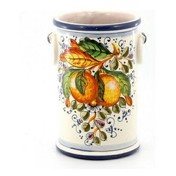 Artistica - Hand Made in Italy - Aranci: Utensil/Breadstick Holder/Wine Chiller - Aranci Collection: This item is part of our popular Aranci collection which feature oranges and lemons embellished with arabesque leaves and cobalt blue trim by our Italian painter.