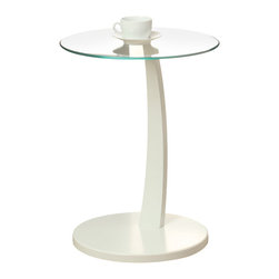 Monarch Specialties - Monarch Specialties 3017 Accent Table in White - This bentwood accent table provides a convenient solution for placing snacks or drinks while sitting on a sofa. A circular white base and stand offer sturdy support, while a tempered Glass top has plenty of space for putting a cup of tea, bag of popcorn, or bowl of ice cream. Its structure is also curved gently forward so you don't have to constantly get up or uncomfortably stretch to set your snacks aside. Functional and stylish, this piece is a must-have for any living room.
