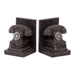 Benzara - Irresistible Set of Resin Phone Bookend - What better thing to use as a Bookend than this! The set 2 resin Telephone is dark Black in color and has a bright appearance. The 2 Telephones are supported on L-shaped structure. The Telephones represents the old era where the dial pad was circular with rotational numbers on it. This set of telephone is truly a unique piece that you can experience using.It can be placed on the Book shelf on either end with Books arranged in the middle. Such Bookends will give a great and rich feel to the complete study area with its positive vibes all around it. You can also place it in your living room simply as a Home Decor. It will surely give a vintage look to your living room. Visitors can get to admire its beauty and uniqueness. You can always change its position to get a fresh look for your room. So hurry up! Grab one and experience it!. This Bookend set measures 4.75 inch (W) +�4.75 inch (D) +� 6.75inch (H); It is Dark Gray color in appearance; An Ideal Piece for Shelf