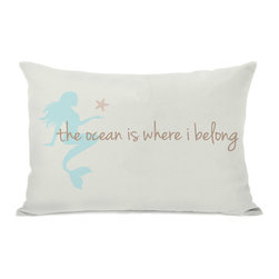 None - Ocean is Where I Belong Mermaid Throw Pillow - Add a great conversation piece with bright and fun throw pillows that will surely liven up any space!