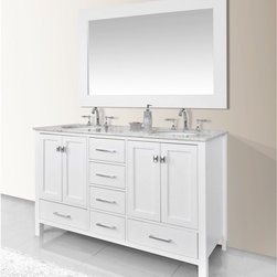 Stufurhome - Stufurhome 60 in. Malibu Pure White Double Sink Bathroom Vanity - GM-6412-60PW - Shop for Bathroom Cabinets from Hayneedle.com! Everyone deserves a bathroom space that makes them feel stylish at ease and completely organized. The Stufurhome 60 in. Malibu Pure White Double Sink Bathroom Vanity makes a stunning impression in the modern home while offering all the amenities you d find in a luxurious day spa. The gorgeous cabinet is handcrafted in solid oak and features a clean white finish that adds a sense of ethereal beauty to your bathroom. Sleek and simple hardware dresses up the six soft-closing drawers and two sets of soft-closing doors. Inside each of the doors lies extra storage space with one shelf the perfect space for tucking away extra towels bathroom tissue cleaning products and more.The optional Carrara white marble vanity top beautifully complements the cabinet s pure white finish and features double undermount ceramic sinks ready for you to choose which is his and which is hers. The top comes pre-drilled with three holes above each sink for ease in installing the faucet of your choice. Add a finishing touch by including the optional twin 24-inch mirrors with frames in a matching white finish. These mirrors look stunning hung just over the sinks offering the perfect space to get ready in the morning or before a big night on the town. Choose the vanity base only; the vanity base with top and sink; or the vanity base top sink and mirror. About StufurhomeBased in San Francisco Stufurhome boasts the best and broadest selection of well-designed well-crafted sink vanities and home furniture. Classic Venetian contemporary modern chic - Stufurhome has every vanity style in a variety of sizes to accommodate all modern bathrooms. Hand-carved moldings antiqued brass hardware fine finishes and hand-painted details add artistry to every piece.