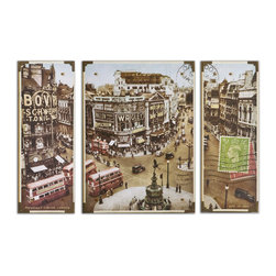Uttermost - Piccadilly Circus Wall Art, Set of 3 - London's calling and you got the message. Hang this wonderful, colorful wall art set in your living or dining space so you can be reminded of your bucket list. Picadilly Circus is a busy square in the heart of London renowned for its neon advertising and proximity to theaters and dining. Have you bought your tickets yet?