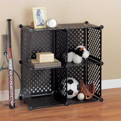 Organize It All - Perforated Black Storage Cube - This modern,stylish perforated polypropylene organization cube features a black shade. Conveniently configurable to any shape,this clutter-reducing essential is great for displaying decorative items,CD's,DVD's and many other accessories.