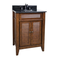 "Hardware Resources - Lyn Design VAN078-T, Black Granite Top - This 26-1/2"" wide MDF vanity features louvered doors to give this vanity a country flair. The warm nutmeg finish and clean lines lends a contemporary feel. A large cabinet provides ample storage. This vanity has a 2 cm black granite top preassembled with an H8809WH (15"" x 12"") bowl, cut for 8"" faucet spread, and corresponding 2 cm x 4"" tall backsplash. Overall Measurements: 26-1/2"" x 21-3/4"" x 35-3/4"" (measurements taken from the widest point)"