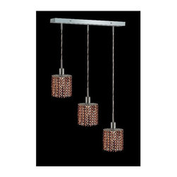 Elegant Lighting - Mini Topaz Crystal Pendant w 3 Lights in Chrome (Strass Swarovski) - Choose Crystal: Strass Swarovski. 3 ft. Chain/Wire Included. Bulbs not included. Crystal Color: Topaz (Brown). Chrome finish. Number of Bulbs: 3. Bulb Type: GU10. Bulb Wattage: 55. Max Wattage: 165. Voltage: 110V-125V. Assembly required. Meets UL & ULC Standards: Yes. 14.5 in. D x 8 to 48 in. H (8lbs.)Description of Crystal trim:Royal Cut, a combination of high quality lead free machine cut and machine polished crystals & full-lead machined-cut crystals..SPECTRA Swarovski, this breed of crystal offers maximum optical quality and radiance. Machined cut and polished, a Swarovski technician¢s strict production demands are applied to this lead free, high quality crystal.Strass Swarovski is an exercise in technical perfection, Swarovski ELEMENTS crystal meets all standards of perfection. It is original, flawless and brilliant, possessing lead oxide in excess of 39%. Made in Austria, each facet is perfectly cut and polished by machine to maintain optical purity and consistency. An invisible coating is applied at the end of the process to make the crystal easier to clean. While available in clear it can be specially ordered in a variety of colors.Not all trims are available on all models.