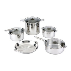 "Cristel - Cristel Multiply 5-Ply Casteline Stainless 13-Piece Cookware Set, Removable Hand - The base is made out of 5-ply alloy of stainless steel and aluminum. The heat is simultaneously spread over the whole surface of the base and sides. For gentle, economic cooking with no risk of sticking and protecting all the nutritional qualities of food. Multicooking: suitable for all cooking cooktops; can also be placed on the oven (with or without the lid). Simplicity: In one easy gesture the handle goes from the saucepan to the pan, the frying pan and on lids with automatic locking. Compact Storage: Parts can be fully nested inside one another thereby saving space and masking easier for dishwasher loadingSafety: the removable automatic locking handle ensures dual safety. With no projecting handle the cooking space is made safe meaning there is no risk of children's hands or aprons catching on it. Removable handles. Polish finish. Assort handle colors and finishes are available. Inside grading. Dishwasher safe.. Set includes:     (01) Saucepan - Stew pan with lid 2.5-qt.    (01) Saucepan - Stew pan with lid 3.4-qt.    (01) Stockpot with lid 8.7-qt.    (01) Frying pan 11""    (01) Saute pan with lid 3.8-qt.    (02) Zenith Long Handles    (02) Zenith Side Handles Made in France."