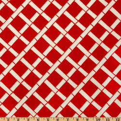 Premier Prints Indoor/Outdoor Cadence American Red - This fabric has the look of bamboo fretwork in a very crisp red and white that will really pop as an accent fabric in a room.