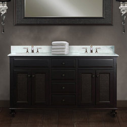 Water Creation - Water Creation London 60-inch Dark Espresso Double Sink Bathroom Vanity From the - Constructed of 100 percent hardwood,this beautiful dual-sink bathroom vanity set is designed to last a lifetime. The marble countertop,ceramic sinks,and elegantly crafted doors and drawers all lend credence to the durability and craftsmanship.