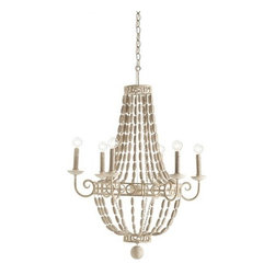 Arteriors - Arteriors Louis Iron and Wood Chandelier-Small - Updated empire styled 6-light iron chandelier with scrolled arms and frame with strands of natural wood beading, all painted in an off white hand-applied Gesso finish. Candleholders mimic real candles with a dripping wax design. Additional chain CHN-940.