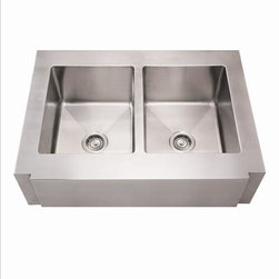 Whitehaus - Whitehaus Whncmap3621Eq Noah's Single Bowl - commercial single bowl sink with a decorative notched front apron