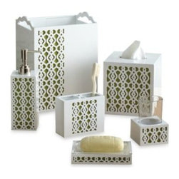 Croscill - Croscill Paradise Bath Waste Basket - The Croscill Paradise Collection will bring the beauty of paradise to your bathroom. The unique design features a pop of vibrant green that comes thru the open space of a beautiful white cut-out pattern.