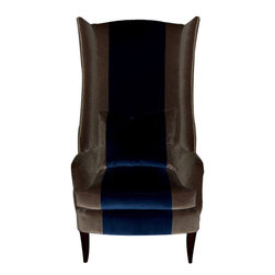 Fladdermus Tall Wing Chair - Exclusive bench-made extra tall wing chair. Down blend back cushion and down foam seat cushion. Standard nail head trim. Stripe detail optional. Custom sizing and finish options are available.