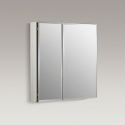 "KOHLER - KOHLER 25"" W x 26"" H aluminum two-door medicine cabinet with mirrored doors, bev - With a sleek mirrored surface inside and outside, this 25-inch frameless cabinet is a versatile option. The two mirrors on the front doors have a 1/2-inch bevel and appear as one larger mirror for a design that integrates easily into any bath or powder ro"