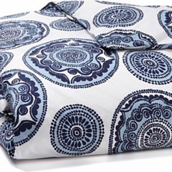 Bombay Bedding - I can't get over this beautiful duvet inspired by designer John Robshaw's travels to India. I love the large blue medallions; they would look great paired with yellow and white accessories throughout the room.