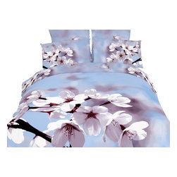 Dolce Mela - 6 Piece 100% Cotton, Floral Duvet Cover Set by Dolce Mela, King - Perk up your bedroom's decor with this spectacularly vivid motif of almond flowers against a light-blue sky on this organic bedding ensemble from Dolce-Mela Elite bedding collection. These superb Dolce-Mela bedding sets are crafted with State of the Art reactive printing plates and natural plant dyes on 100% Egyptian cotton and feature exclusive panel designs of Hi-Res prints that retain the vibrant colors for many years of proper washing. Decorate with style or treat a friend with a housewarming gift or bridal shower gift.
