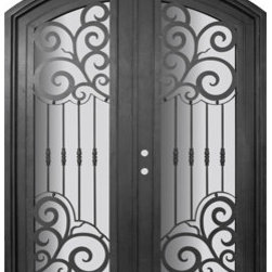 "Barcelona 72x96 Arch Top Forged Iron Double Door 14 Gauge Steel - ""SKU#    PHBFBATDR4Brand    GlassCraftDoor Type    ExteriorManufacturer Collection    Buffalo Forge Steel DoorsDoor Model    BarcelonaDoor Material    SteelWoodgrain    Veneer    Price    8665Door Size Options      $Core Type    one-piece roll-formed 14 gauge steel doors are foam filled  Door Style    Arch TopDoor Lite Style    Arch Lite , Full LiteDoor Panel Style    Home Style Matching    Mediterranean , Victorian , Bay and Gable , Plantation , Cape Cod , Gulf Coast , ColonialDoor Construction    Prehanging Options    PrehungPrehung Configuration    Double DoorDoor Thickness (Inches)    1.5Glass Thickness (Inches)    Glass Type    Double GlazedGlass Caming    Glass Features    Insulated , TemperedGlass Style    Glass Texture    Clear , Glue Chip , RainGlass Obscurity    Door Features    Door Approvals    Wind-load RatedDoor Finishes    Three coat painting process"