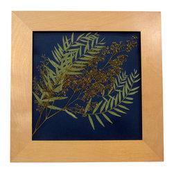 "Deep Blue, Oshibana Art - Oshibana (pressed plants) artwork in a 16"" x 16"" light birch frame."