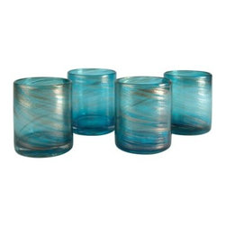 Artland 16 oz. Shimmer Double Old Fashion Glass - Turquoise - Set of 4 - Serve cocktails or your morning shot of citrus in style with the Artland 16 oz. Shimmer Double Old Fashion Glass - Turquoise - Set of 4. This set includes four glasses made of turquoise glass with shimmery metallic accents. Not just pretty, they're dishwasher-safe, too.About ArtlandA privately owned manufacturing company, Artland designs, produces, and markets a range of products for the tabletop and home fashion industries. Their product line focuses on mouth-blown glassware, ceramic tableware, aluminum serveware, and stainless steel barware. Artland was founded in 1996 and maintains showrooms in New York City, Beijing, Xian, and Guangzhou. Their products are sold worldwide through multiple channels and they are often featured trade publications such as Tableware Today, HFN, Homeworld Business, and Kitchenware News Today.