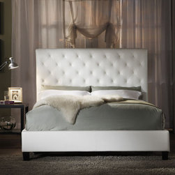 None - Sophie Tufted White Faux Leather Queen-Size Platform Bed - This headboard is tufted, so of course I love it! I really like the height too.