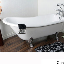 None - Vintage Collection 69-inch Acrylic Slipper Clawfoot Tub with 7-inch Rim Drilling - Offering vintage appeal paired with the best in modern technology, this lightweight clawfoot tub is made from acrylic and features a classic slipper design. Measuring 69 inches long, this elegant tub has detachable claw feet for easy transport.