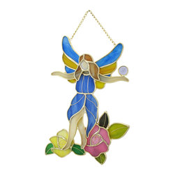 Zeckos - Stained Glass Fairy Tiptoeing Through the Roses Wall Plaque - This beautiful stained glass wall plaque features a fairy in a blue dress tiptoeing through a rose garden. It measures 10 inches tall, 7 inches wide, 1 inch deep and is crafted from beautiful pieces of colored glass. Display alone or in a group, on the wall or as suncatchers. NOTE: Suction cup not included.