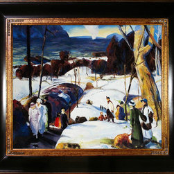 "overstockArt.com - Bellows - Easter Snow, 20x24, Opulent Frame Oil Painting - 20"" x 24"" Oil Painting On Canvas Easter Snow Originally painted in 1915, today it has been reproduced in fine hand painted oils on canvas. This image is part of the series of paintings Bellows made, between 1907 and 1915. The landscape, Easter Snow , offers a beautiful and soulful perspective on everyday life in middle class America. The artist's use of light enhances the colors and textures delivering an earthy feel within the composition. A wonderful example of turn-of-the-century realism, this landscape portrait fits well above a fireplace or any room with plenty of light to show off its true and luminous beauty. ""...the most acclaimed American artists of his generation."" Columbus Museum of Art George Wesley Bellows (1882-1925) was an American painter who lived and produced most of his work at the start of the twentieth century. Known for bold depictions of urban life in New York City, Bellows captures American pastimes based on his love of athletics. Bellows' style mixes dark atmospheres with bright light and geometrical shapes with long brushstrokes giving his scenes a sense of perpetual, fluid motion. These hallmarks of his style allowed Bellows to depict the grittiness of American society, a popular movement amongst turn-of-the-century realist artists. Although boxing scenes are Bellows' major contribution to art history, he later cultivates a more refined style and develops his use of light and dark to characterize the griminess of urban life fueled by the political and social themes of his time."