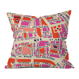 DENY Designs - Holli Zollinger Paris Map Pink Throw Pillow - Wanna transform a serious room into a fun, inviting space? Looking to complete a room full of solids with a unique print? Need to add a pop of color to your dull, lackluster space? Accomplish all of the above with one simple, yet powerful home accessory we like to call the DENY throw pillow collection! Custom printed in the USA for every order.
