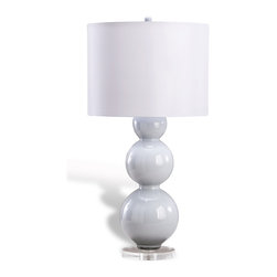 """Kathy Kuo Home - Bugatti Modern Gray Smoke Glass Bulb Lamp - """"The very name of this lamp says worlds about the round motif dominating its design.  Sleek and modern, the Bugatti Bulb Lamp flaunts three gray, glass spherical forms stacked upon one another and supported by an acrylic disk base.  Finished with a smooth, cylindrical, smoke-colored lampshade, it is a functional accent piece that is sure to add to any modern interior."""