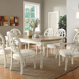 Coaster 7PCs. Dining Table & Upholstered Chairs Set - A traditional style comes alive with intricate carvings, sculpted bases and legs and comfortable upholstered seat cushions.