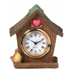 WL - 2 Inch Wood Grain Birdhouse with Bird and Heart Shaped As a Mini Clock - This gorgeous 2 Inch Wood Grain Birdhouse with Bird and Heart Shaped As a Mini Clock has the finest details and highest quality you will find anywhere! 2 Inch Wood Grain Birdhouse with Bird and Heart Shaped As a Mini Clock is truly remarkable.